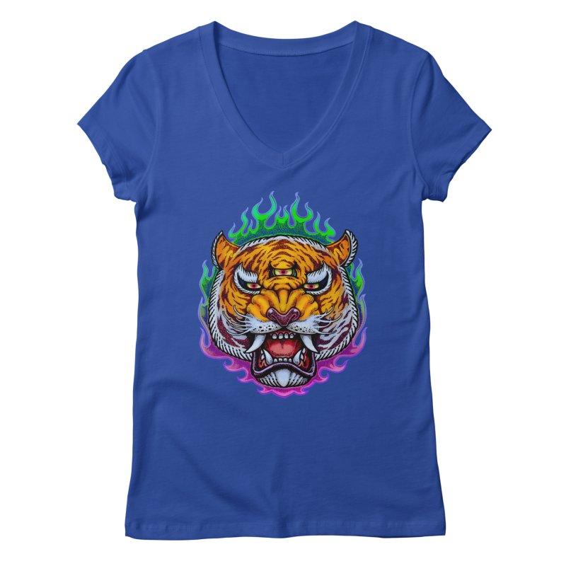 Third Eye Tiger Women's Regular V-Neck by villainmazk's Artist Shop