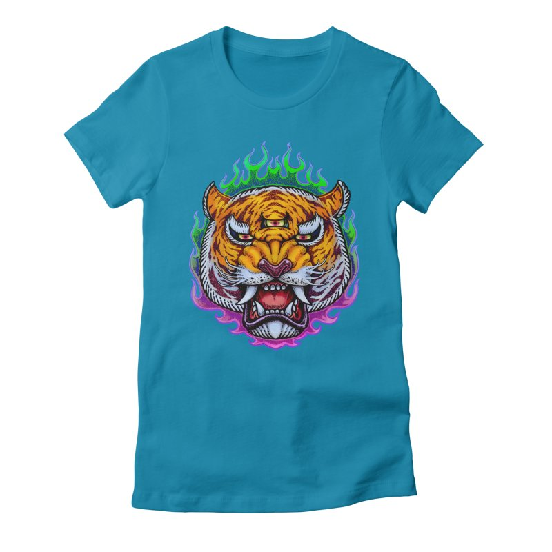Third Eye Tiger Women's Fitted T-Shirt by villainmazk's Artist Shop