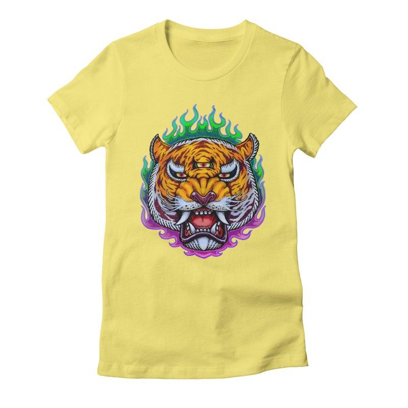 Third Eye Tiger Women's Fitted T-Shirt by villainmazk's Artist Shop