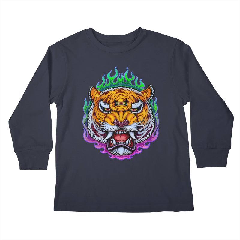 Third Eye Tiger Kids Longsleeve T-Shirt by villainmazk's Artist Shop