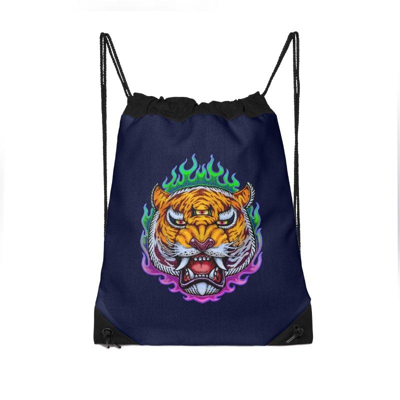 Third Eye Tiger Accessories Drawstring Bag Bag by villainmazk's Artist Shop