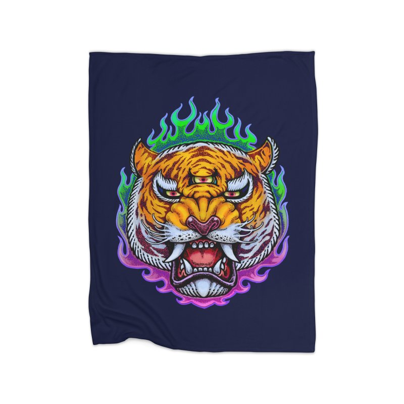Third Eye Tiger Home Fleece Blanket Blanket by villainmazk's Artist Shop