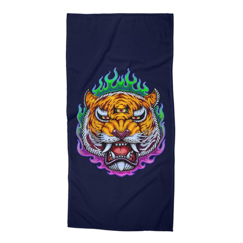 Third Eye Tiger Accessories Beach Towel by villainmazk's Artist Shop