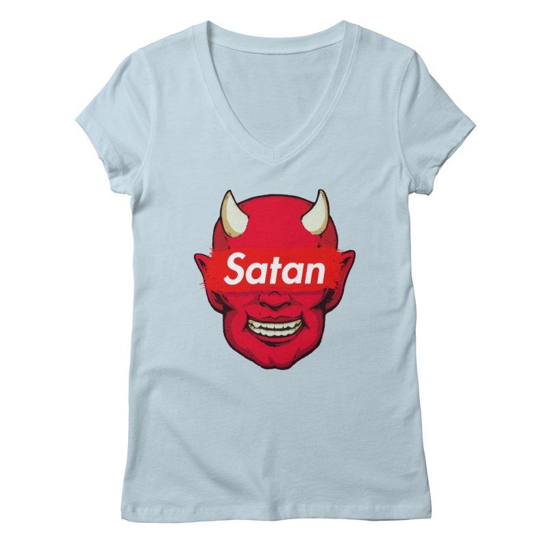 Satan Supreme Women's V-Neck by villainmazk's Artist Shop