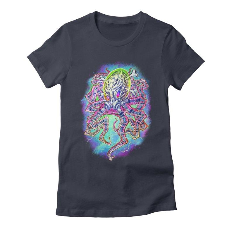 Skeleton Octopus Alien Women's Fitted T-Shirt by villainmazk's Artist Shop
