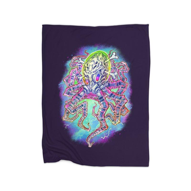 Skeleton Octopus Alien Home Fleece Blanket Blanket by villainmazk's Artist Shop