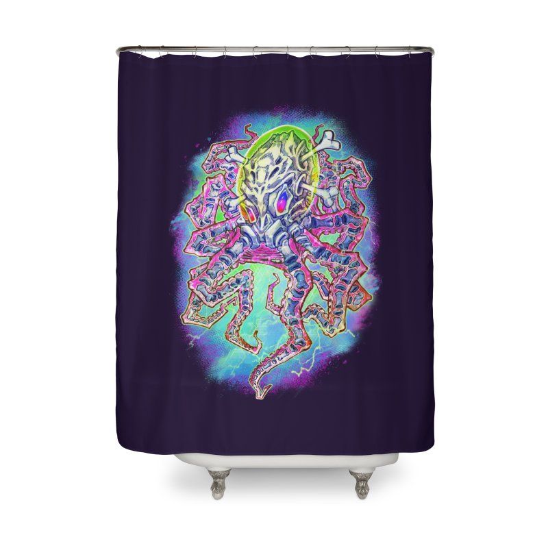 Skeleton Octopus Alien Home Shower Curtain by villainmazk's Artist Shop