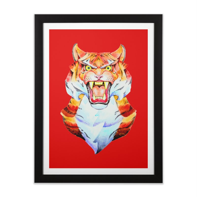 Tiger roar in Framed Fine Art Print Black by villainmazk's Artist Shop