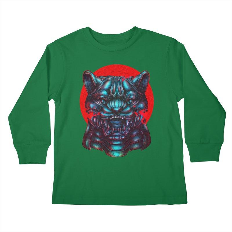 Blood Moon Panther Kids Longsleeve T-Shirt by villainmazk's Artist Shop