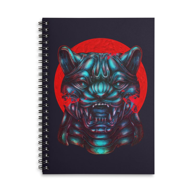 Blood Moon Panther Accessories Lined Spiral Notebook by villainmazk's Artist Shop