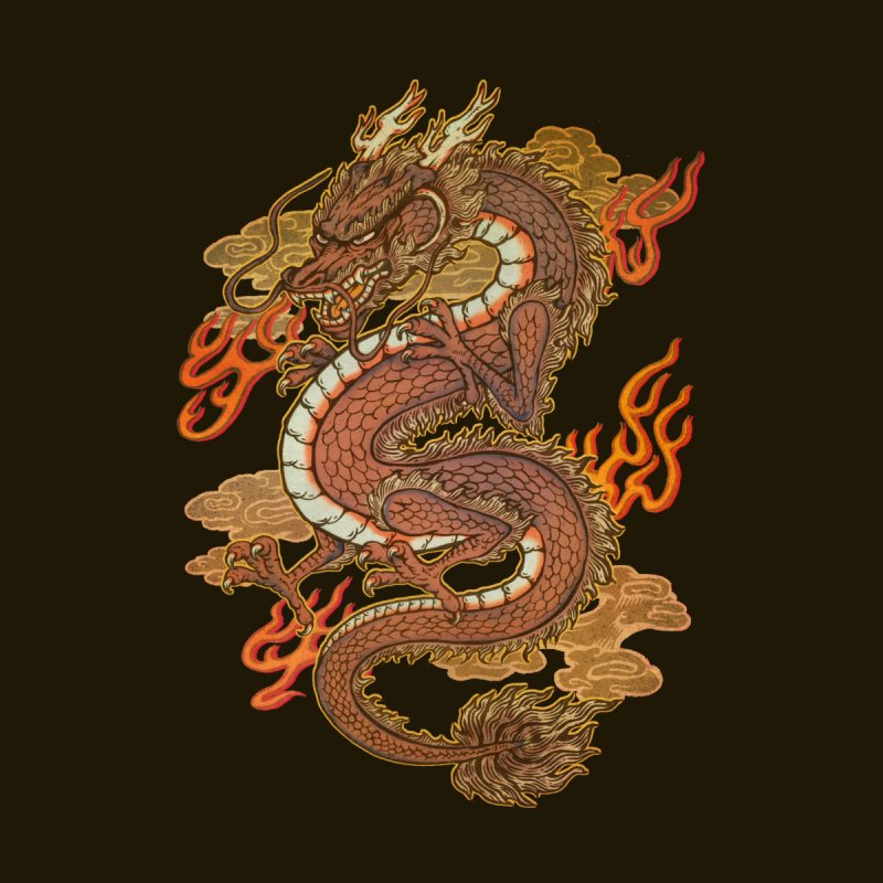 Golden Dragon Home Stretched Canvas by villainmazk's Artist Shop