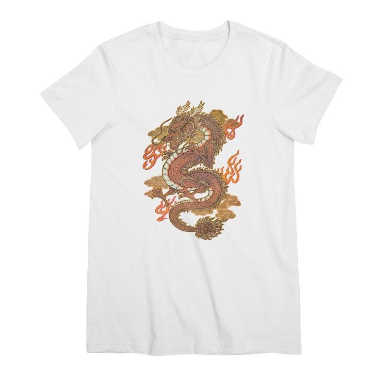 Golden Dragon Women's Premium T-Shirt by villainmazk's Artist Shop