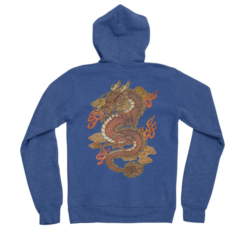Golden Dragon Women's Sponge Fleece Zip-Up Hoody by villainmazk's Artist Shop