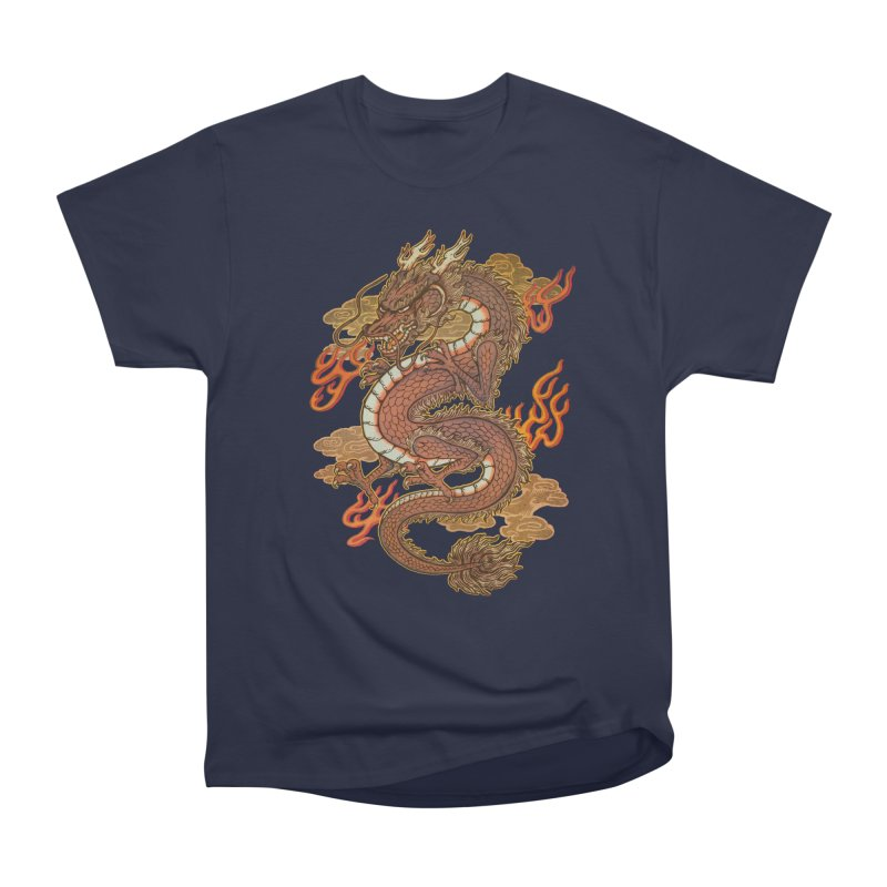 Golden Dragon Men's Heavyweight T-Shirt by villainmazk's Artist Shop