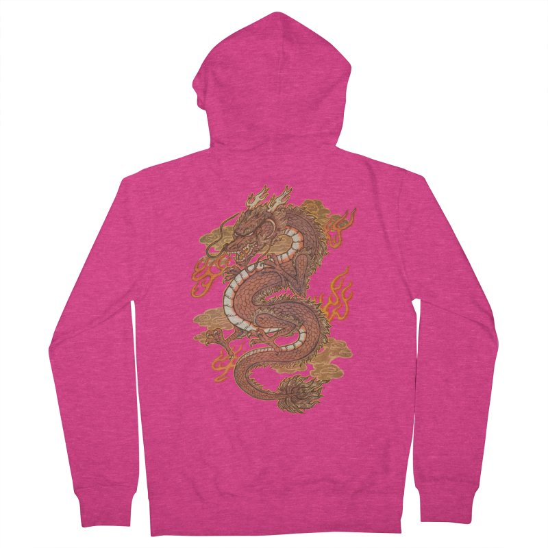 Golden Dragon Women's French Terry Zip-Up Hoody by villainmazk's Artist Shop