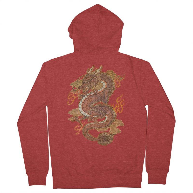 Golden Dragon Men's French Terry Zip-Up Hoody by villainmazk's Artist Shop
