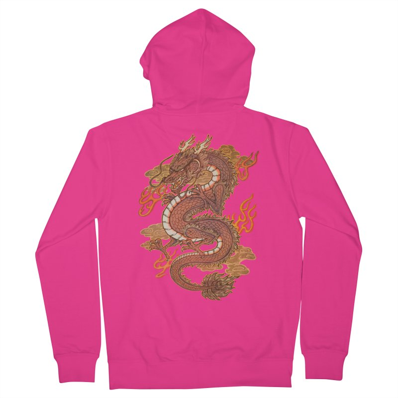 Golden Dragon Men's French Terry Zip-Up Hoody by villainmazk's Artist Shop