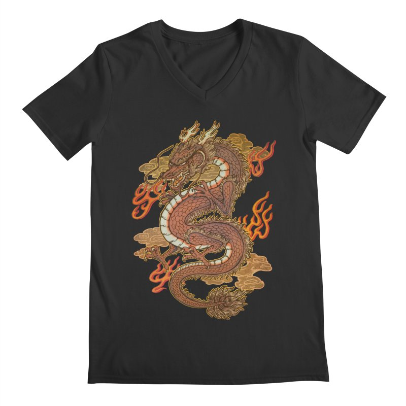 Golden Dragon Men's Regular V-Neck by villainmazk's Artist Shop