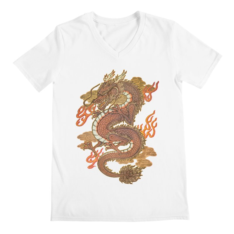 Golden Dragon Men's V-Neck by villainmazk's Artist Shop