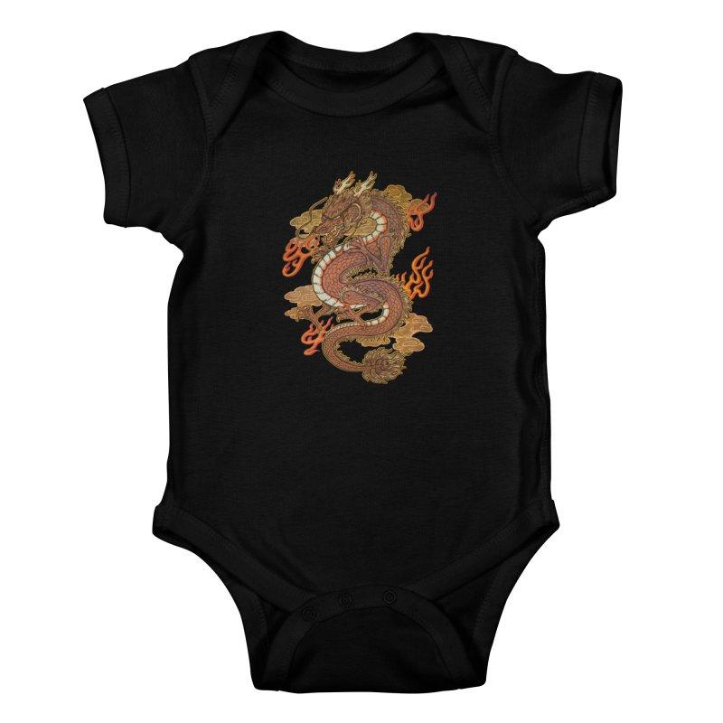 Golden Dragon Kids Baby Bodysuit by villainmazk's Artist Shop