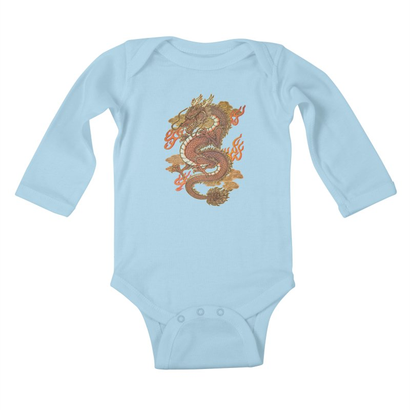 Golden Dragon Kids Baby Longsleeve Bodysuit by villainmazk's Artist Shop