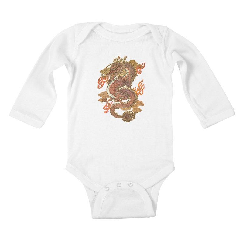 Golden Dragon Kids Baby Longsleeve Bodysuit by villainmazk's Artist Shop