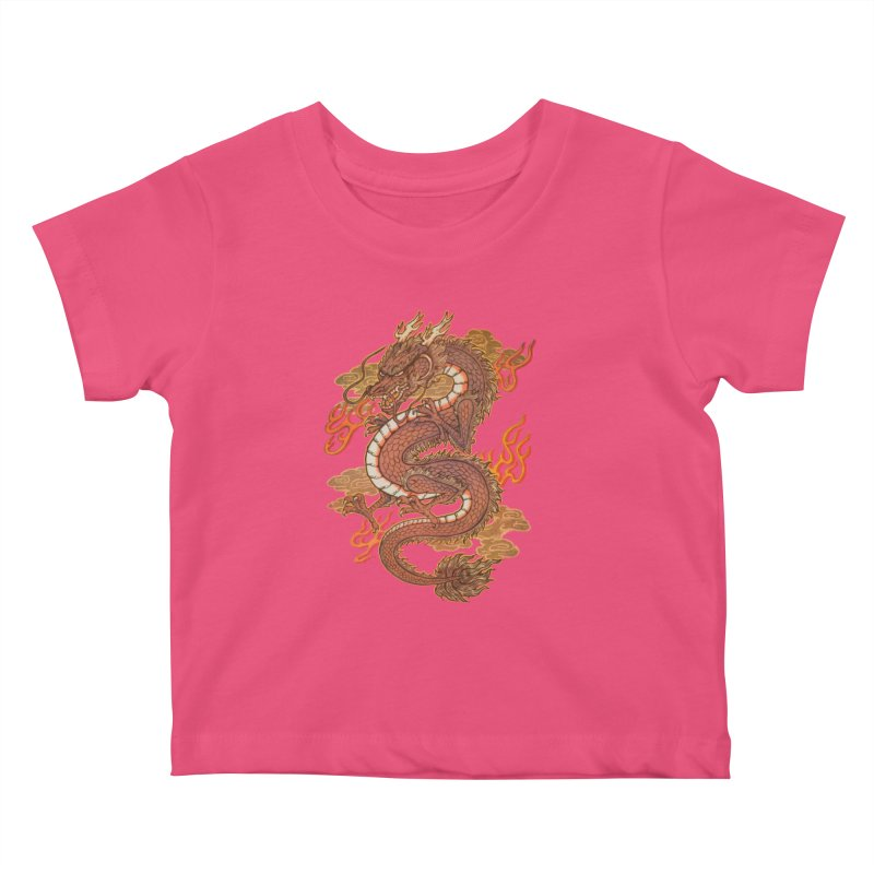 Golden Dragon Kids Baby T-Shirt by villainmazk's Artist Shop