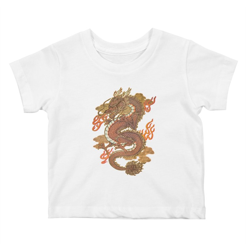 Golden Dragon Kids Baby T-Shirt by villainmazk's Artist Shop