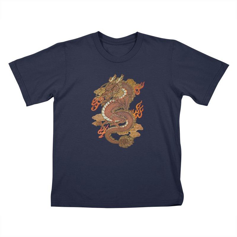 Golden Dragon Kids T-Shirt by villainmazk's Artist Shop