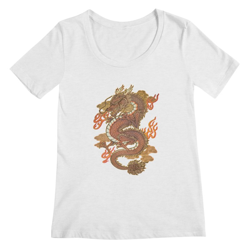 Golden Dragon Women's Regular Scoop Neck by villainmazk's Artist Shop