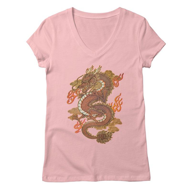 Golden Dragon Women's Regular V-Neck by villainmazk's Artist Shop