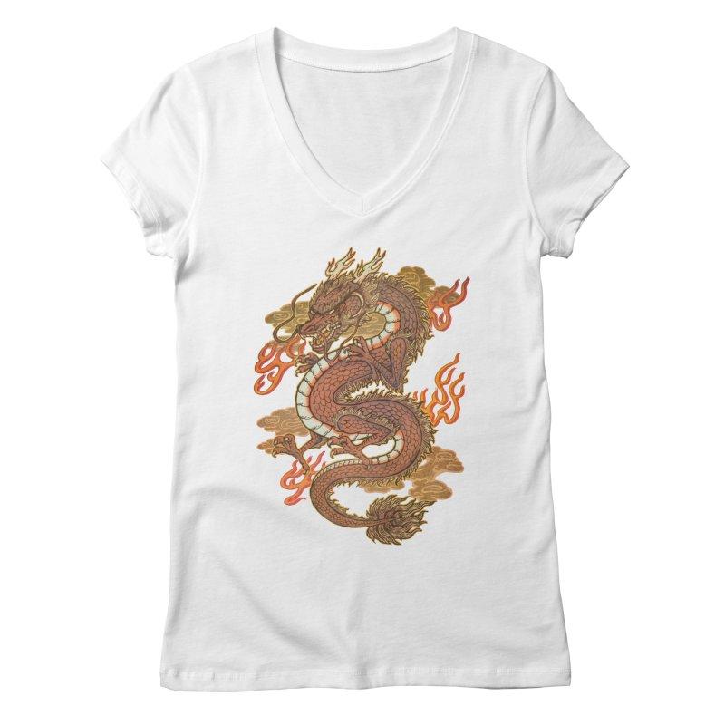 Golden Dragon Women's V-Neck by villainmazk's Artist Shop