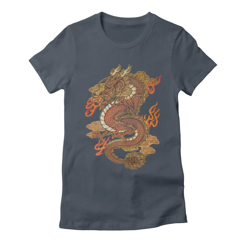 Golden Dragon Women's Fitted T-Shirt by villainmazk's Artist Shop