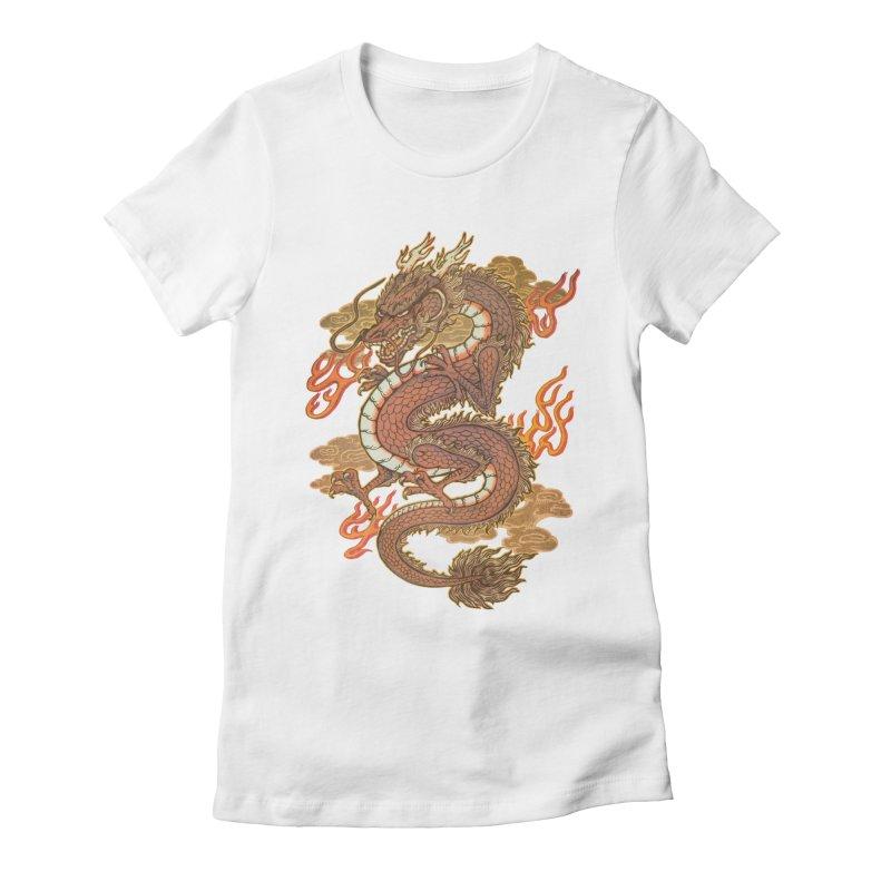 Golden Dragon Women's Fitted T-Shirt by villainmazk's Artist Shop