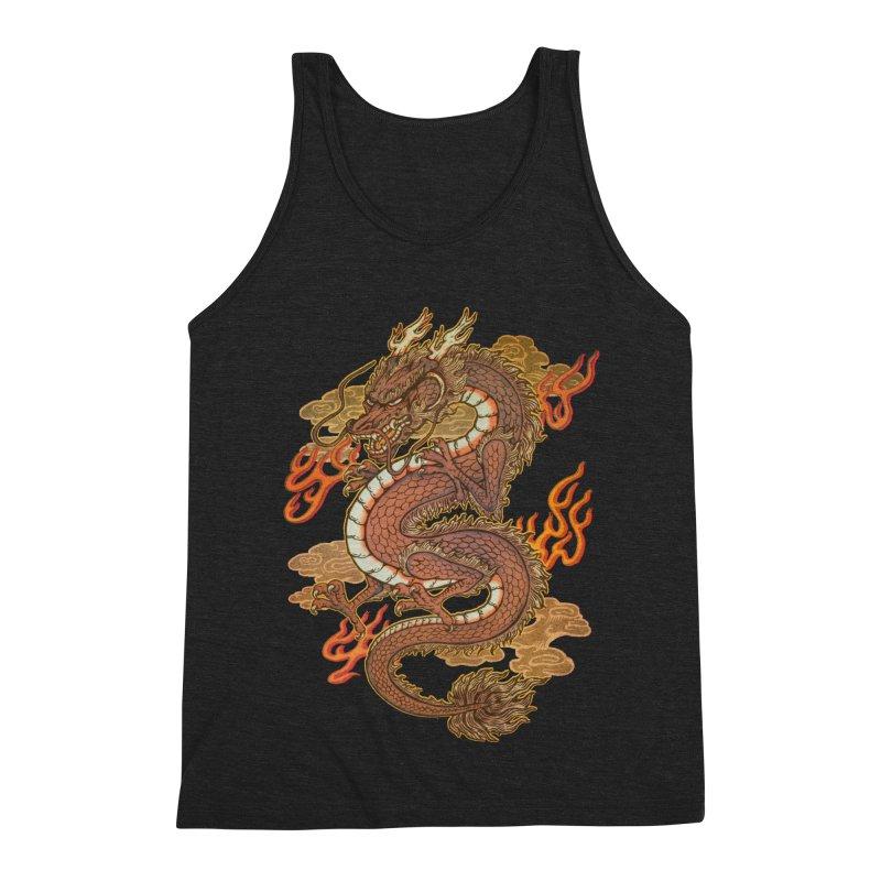 Golden Dragon Men's Triblend Tank by villainmazk's Artist Shop