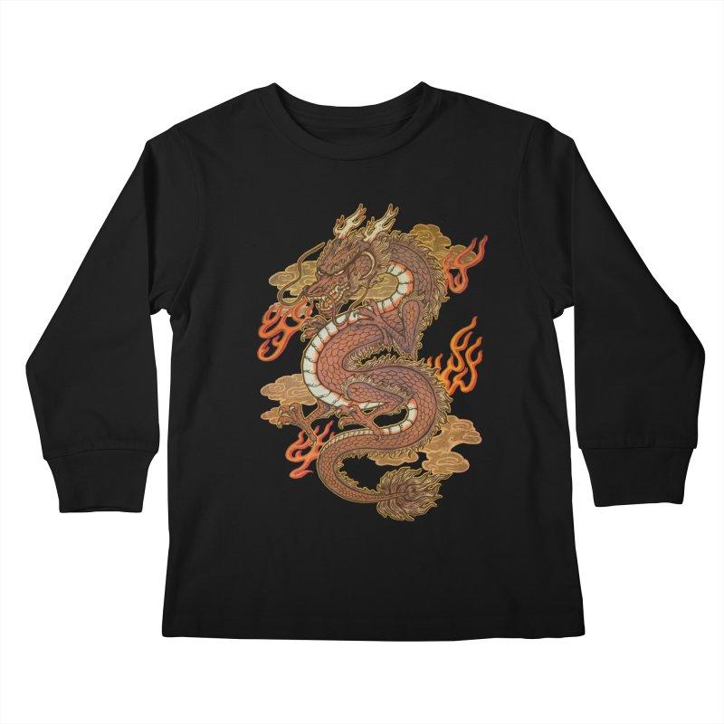 Golden Dragon Kids Longsleeve T-Shirt by villainmazk's Artist Shop