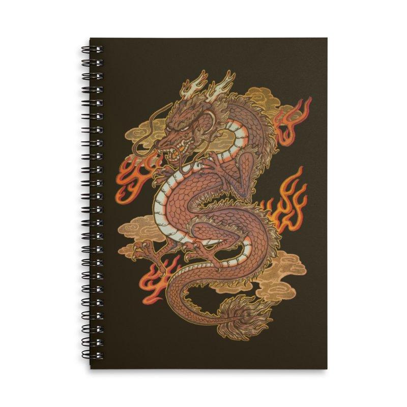 Golden Dragon Accessories Lined Spiral Notebook by villainmazk's Artist Shop