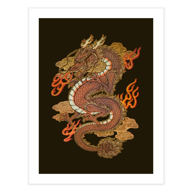 Golden Dragon Home Fine Art Print by villainmazk's Artist Shop