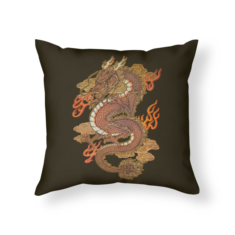 Golden Dragon Home Throw Pillow by villainmazk's Artist Shop