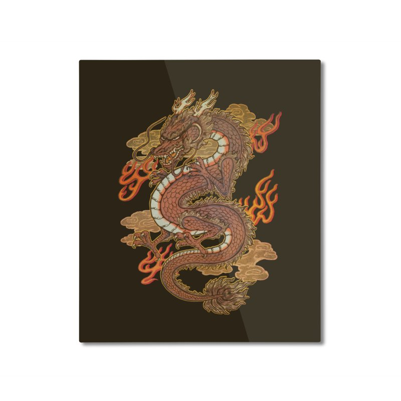 Golden Dragon Home Mounted Aluminum Print by villainmazk's Artist Shop