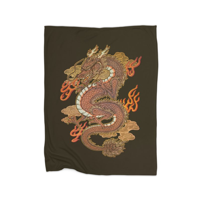 Golden Dragon Home Fleece Blanket Blanket by villainmazk's Artist Shop