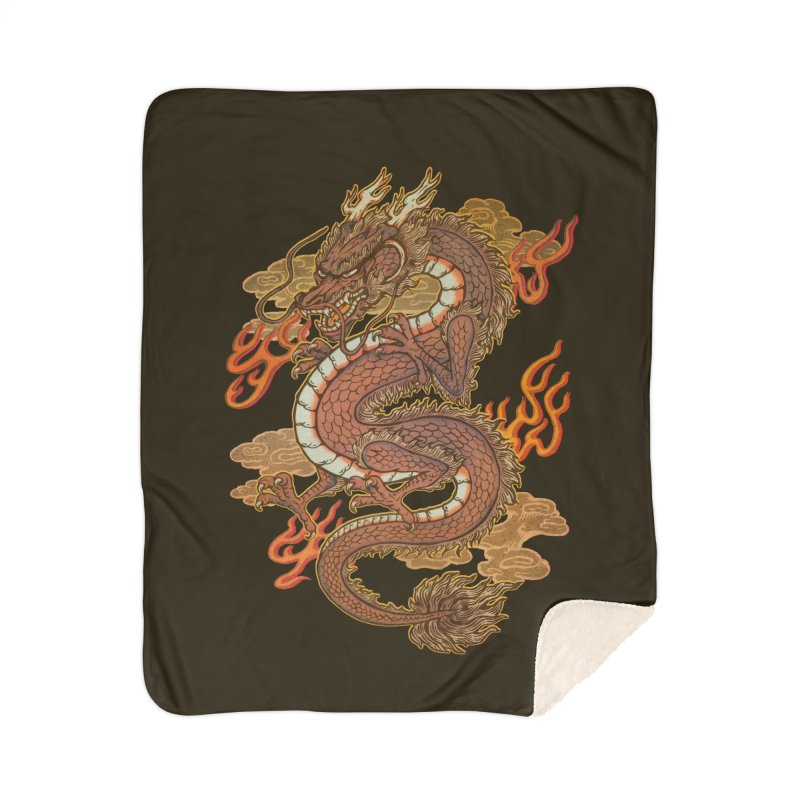 Golden Dragon Home Sherpa Blanket Blanket by villainmazk's Artist Shop