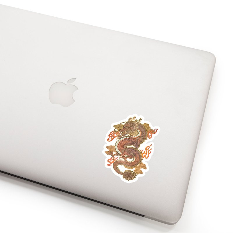 Golden Dragon Accessories Sticker by villainmazk's Artist Shop