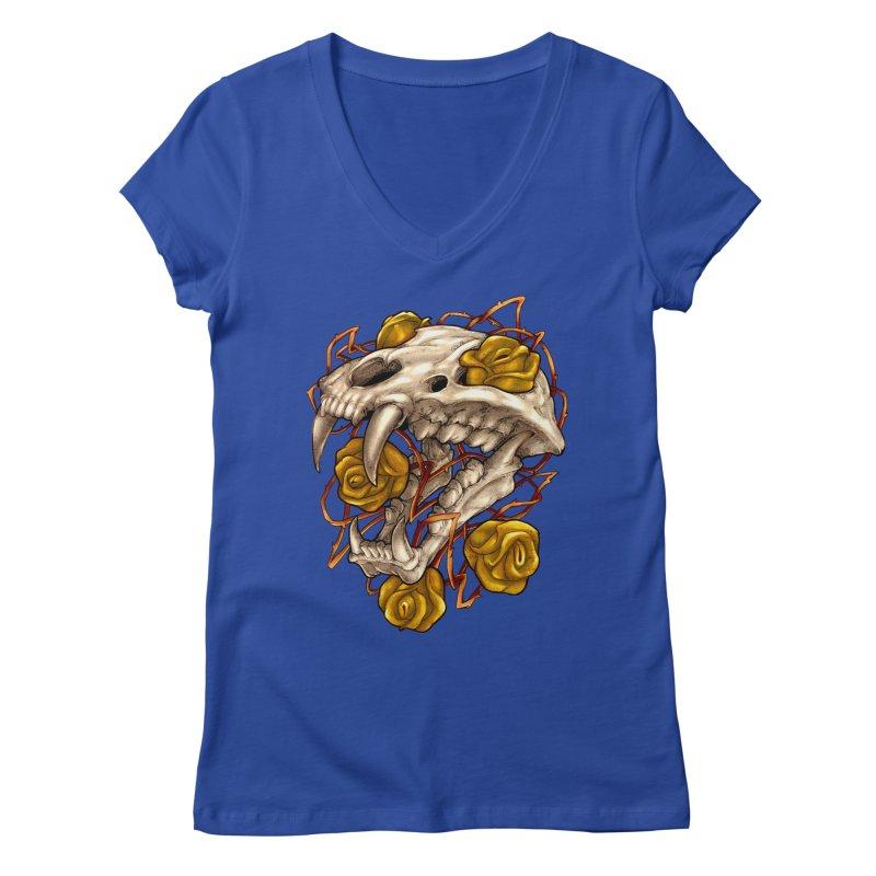 Golden Panther Women's V-Neck by villainmazk's Artist Shop