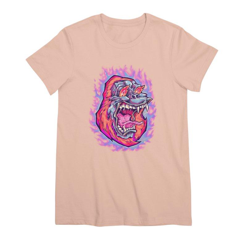 Burning Ape Women's Premium T-Shirt by villainmazk's Artist Shop