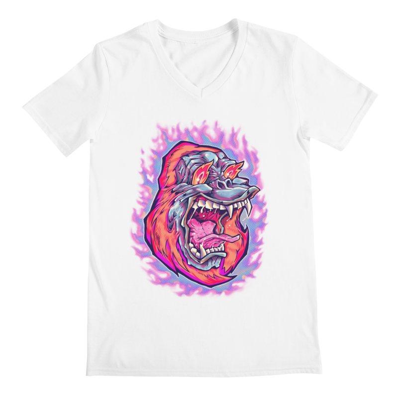 Burning Ape Men's V-Neck by villainmazk's Artist Shop