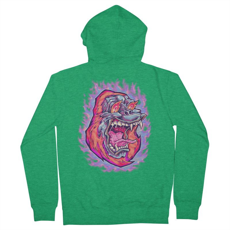 Burning Ape Men's French Terry Zip-Up Hoody by villainmazk's Artist Shop