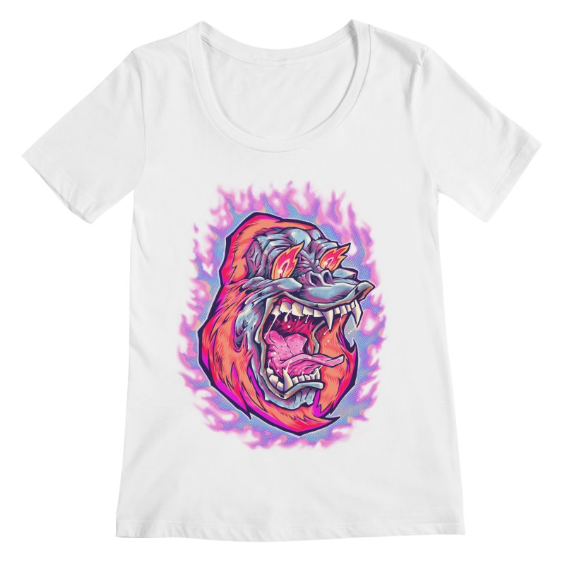 Burning Ape Women's Regular Scoop Neck by villainmazk's Artist Shop