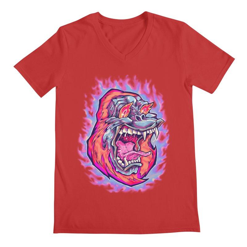 Burning Ape Men's Regular V-Neck by villainmazk's Artist Shop