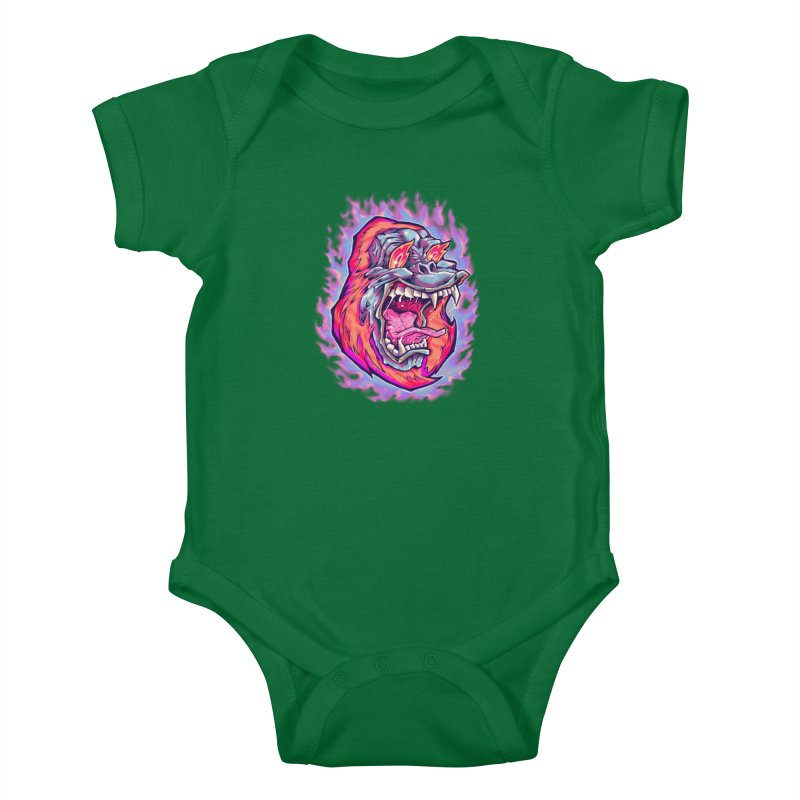 Burning Ape Kids Baby Bodysuit by villainmazk's Artist Shop